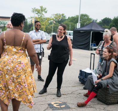 Director Tanya Wexler on the set of Buffaloed.