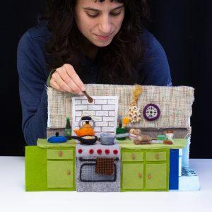Andrea with mini kitchen